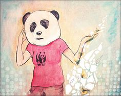 What kind of Panda are you? Acrylique on wood with collage Marie-Helene Pierre ©