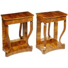 Pair of Biedermeier Walnut Tables with Mirror backs.