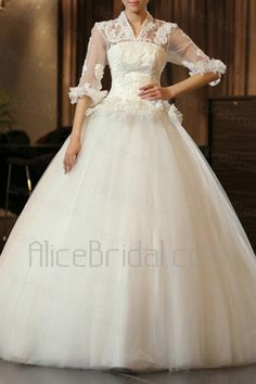 Satin and Tulle V-neck Floor Length Ball Gown Wedding Dress with Handmade Flowers - Alice Bridal