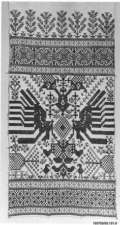 Towel - century - Greek Islands or Sardinia Greek Design, Gold Work, Vintage Textiles, Ancient Greece, Greek Islands, Cartography, Embroidery Patterns, Textile Patterns, Folk Art