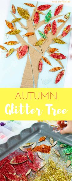 Arty Crafty Kids | Craft | Cardboard Autumn Glitter Tree | A colourful Autumn tree craft using cut up recycled cardboard to assemble a tree. Great fine motor activity for young children!
