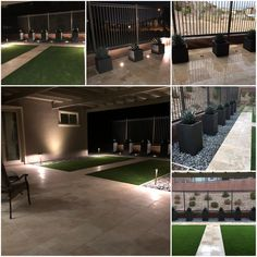 This gorgeous modern backyard is complete with travertine 3 cm pavers, artificial turf, wonderfully placed accent lighting, and perfect modern pots with blue glow agaves planted in them.
