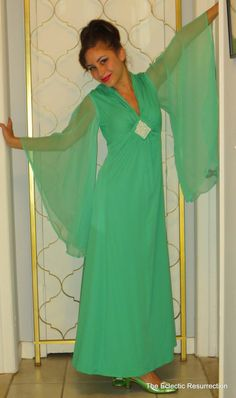 Vintage  Empire Maxi Dress 1960s Emerald Green Angel Wing Sleeves
