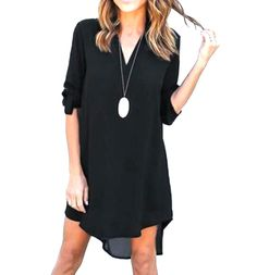 ARRIVE GUIDE Womens Roll-up Sleeve Solid V-neck Irregular Chiffon Dress