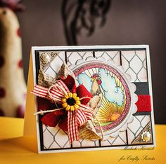 Country inspired rooster card using digital stamps and paper from Craft Secrets