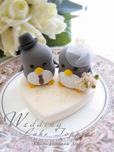 Wedding Cake Topper painted to look like stone