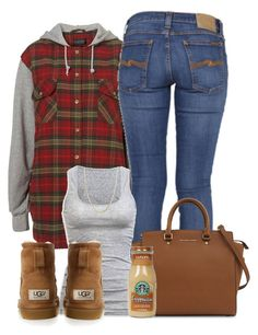 """""""Untitled #384"""" by b-elkstone ❤ liked on Polyvore featuring Nudie Jeans Co., Michael Kors, American Eagle Outfitters, Giani Bernini and UGG Australia"""