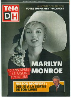 Tele DH - August 4th 2012, magazine from France. Front cover photo of Marilyn Monroe by Carl Perutz, 1958.