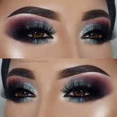 Bold Fall and Winter Makeup Earlier in the post we featured a makeup idea with a classic eyeliner flick and purple lips. Makeup Guide, Eye Makeup Tips, Smokey Eye Makeup, Eyeshadow Makeup, Makeup Brushes, Beauty Makeup, Makeup Ideas, Beauty Tips, Green Smokey Eye
