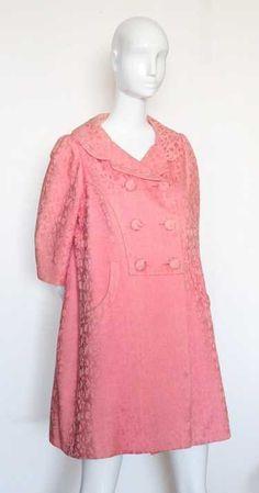 Mainbocher Haute Couture Pink Cotton Brocade Coat, From the estate of Eddie Adams. Eddie Fisher, Adam S, Eddie Murphy, Fashion Branding, Jun, Vintage Designs, 1960s, Vintage Fashion, Tunic Tops