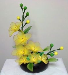 Ikebana with silk flowers