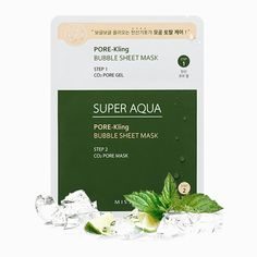 MISSHA Super Aqua Pore-Kling Bubble Sheet Mask works to brighten and refresh your complexion with bubble carbonation and carbon dioxide. Foaming Face Mask, Missha, Sheet Mask, K Beauty, Flawless Skin, Cute Faces, Health And Wellbeing, Your Skin, Bubbles