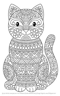 Free Cat Mindful Coloring Pages For Kids Adults Animal Drawings
