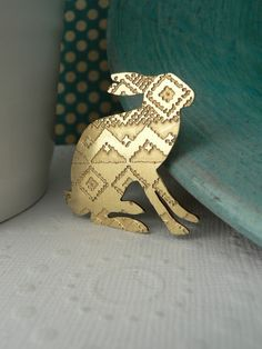 Etched Fair Isle Hare Brooch No.2