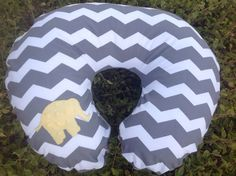 Modern Yellow Elephant on Grey Cheveron with Grey Minky! on Etsy, $25.00