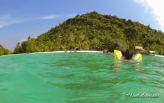 My Purple World : Clear blue sky, turquoise water at Tegal Island, Lampung