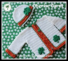 The St. Patrick's day version of the Cherise Sweater and Hat, by Pattern Paradise. Available in 3 months - 5T.  #crochet #patternparadise #crochetcardigan #crochetsweater #crochethat #stpatricksday #irish