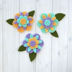 Felt flower layers can be put together in so many color and shape combinations! Add some pretty stitching or buttons! Perfect size for many of your DIY felt projects! Set contains 18 pieces. Each flow Felt Diy, Felt Crafts, Fabric Crafts, Floral Fabric, Fabric Flowers, Paper Flowers, Felt Embroidery, Felt Applique, Sewing Projects For Kids