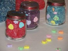 I Spy Jars - finding colored hearts