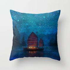 Throw Pillows featuring Our Secret Harbor by Aimee Stewart Throw Cushions, Couch Pillows, Designer Throw Pillows, Down Pillows, Accent Pillows, Fluffy Pillows, Water Crafts, Pillow Design, Pillow Inserts