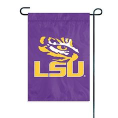 """Party Animal NCAA LSU Tigers Garden Flag  Indoor/outdoor 15"""" x 10.5"""" garden flag is made of 100% heavy-duty nylon fabric  Appliqué and embroidered mini sports flag is the highest quality on the market  Features a sewn-in sleeve for hanging on a standard garden flag stand (not included)  Easily hang on a window or flat surface with two included suction cups and plastic rod  Accentuate your yard with this officially licensed NCAA flag or hang it in your window"""