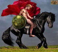 Alexander the Great - Buchephalus and shield bearing the Pan-Hellenic Sun