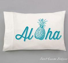 Hawaiian Decor.... Aloha Pillow Cases  Hand Pulled Screen by SweetCreamDesigns, $25.00