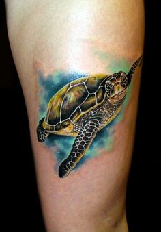 Sea Turtle tattoo by Chris 51 of Area 51 Tattoo in Springfield, OR Epic Ink on AE Sea Life Tattoos, Ocean Tattoos, Up Tattoos, Tattoo Life, Body Art Tattoos, Tribal Tattoos, Sleeve Tattoos, Tattoos For Women, Tattoos For Guys