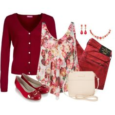 """Seeing Red... and Pink"" by miladyc on Polyvore"