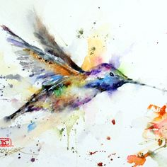 HUMMINGBIRD and FLOWER Colorful Watercolor Print. $25.00, via Etsy.