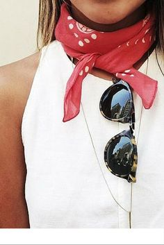 sneakers and pearls, street style, wrap a red bandana around your neck for a very cool summer look, trending now, u-la-la-land.jpg