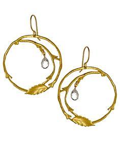 Catherine Weitzman Topaz Leaf Hoop Earrings