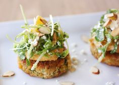 carrot pancakes with hummus + feta salad