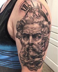 Statue and clock half sleeve by George ( at Chronic Ink Tattoo - Toronto, Canada Apollo Tattoo, Zeus Tattoo, Tiger Tattoo, God Tattoos, Forearm Tattoos, Tattoos For Guys, Tattoo Design Drawings, Tattoo Designs Men, Greek God Tattoo