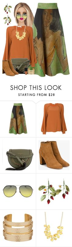 """""""Rust & Green"""" by petalp ❤ liked on Polyvore featuring Christopher Kane, Chloé, Balmain, Aquazzura, Christian Dior, Kenneth Jay Lane, Gucci, skirt and polyvoreeditorial"""