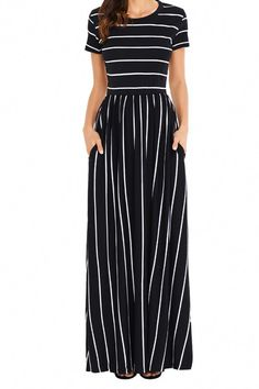 Uniarmoire Women's Summer Casual Loose Striped Long Dress with Pocket Maxi Dress - Black - Small Short Beach Dresses, Frack, Striped Maxi Dresses, Dresses Dresses, Fall Maxi Dresses, Flower Dresses, Long Dresses, Stylish Dresses, Dress Long