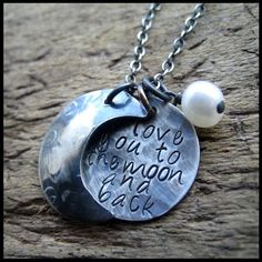 Rustic Silver Hammered I Love You To the Moon and Back