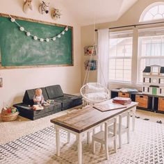 Bonus Room Playroom, Office Playroom, Playroom Design, Playroom Decor, Kids Room, Playroom Ideas, Playroom Furniture, Attic Playroom, Vintage Playroom
