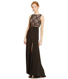 R & M Richards Two-Toned Lace Gown