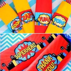 COMIC HERO Party- Superhero Birthday- Superhero THANK YOU TAGS- Superhero Party