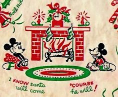 The Stockings Were Hung By The Fireplace With Care. Mickey + Minnie sit by the fireplace,on Christmas Eve. Disney Christmas Cards, Mickey Christmas, Old Christmas, Old Fashioned Christmas, Retro Christmas, Disney Holidays, Christmas Wrapping, Christmas Decor, Vintage Christmas Images