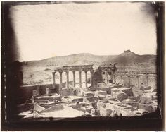 Northwest corner of the courtyard of the Temple of Bel, Palmyra, Syria, Louis Vignes, 1864