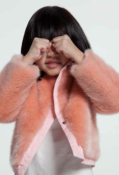 Cute faux fur cropped girls jacket from Kenzo Kids for fall 2014