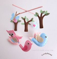 Owls and Birds in The Woodland  Mobile - Baby Mobile - Nursery Decorative Crib mobile - Pink birds, owls and butterflies