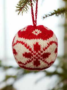 Inspired by traditional Norwegian patterns, each Christmas ball is a unique handmade  heirloom...could make out of up cycled sweaters (heart)