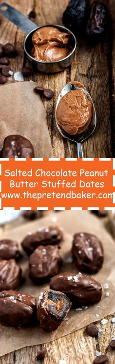 Salted chocolate peanut butter stuffed dates. A healthy, easy, delicious way to satisfy your sweet and salty cravings. Just 4 ingredients!