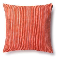 Marimekko Varvunraita Orange Throw Pillow Vuokko Eskolin-Nurmesniemi's slightly swaying stripes make a vibrant statement in hues of orange-red and light pink. The pattern is printed on an upholstery-weight cotton cushion cover, which is easily.