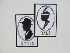 Bathroom Signs Set of 2 / Deco Scallop Cameo by punchpaper on Etsy