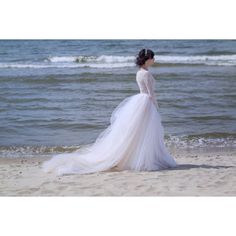 Zephyra wedding dress tulle and lace wedding dress long sleeved... ($780) ❤ liked on Polyvore featuring dresses and wedding dresses