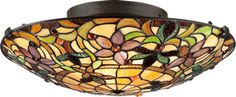 Quoizel TF1396SVB Kami Art Nouveau Tiffany Flush Mount Ceiling Light  Quoizel Kami Art Nouveau Tiffany Collection - Call Brand Lighting Sales 800-585-1285 to ask for your best price!